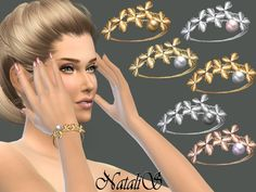 The Sims Resource: Orchid flowers bracelet right by NataliS • Sims 4 Downloads