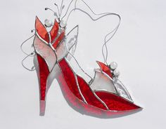 High Heel Red Shoe With Flowers. Stained Glass Suncatcher. on Etsy, $32.00