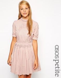 Image 1 ofASOS PETITE Exclusive Premium Skater Dress with Lace Embroidery