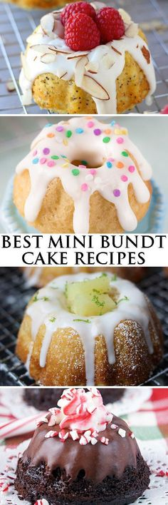 Collection of the best mini bundt cake recipes ever. There are bundt cakes from scratch, with cake mix, with booze, fruits and so much more! From cake. Mini Desserts, Just Desserts, Delicious Desserts, Easter Desserts, Frozen Desserts, Plated Desserts, Healthy Desserts, Cupcake Recipes, Baking Recipes