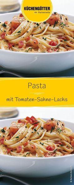 Rezept für Pasta mit Tomaten-Sahne-Lachs
