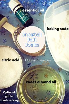 Kids will love throwing a snowball into their bath tub and watching it fizz! Homemade bath bombs are fun and therapeutic when infused with essential oils. - OddsandEvans.com
