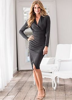 Grey long sleeve surplice ruched dress available in XS - XL