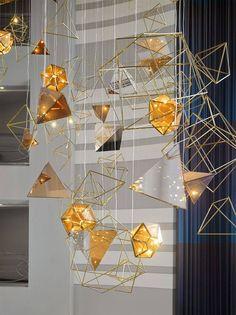Golden Lighting Installation by Preciosa Lighting