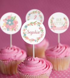 Wild Flower Party Cupcake Toppers Flower Party by SunshineParties 40th Party Ideas, 30th Party, Baby Party, Party Invitations, Party Favors, Invitation Cards, Flamingo Cupcakes, Girl Superhero Party, Kids Birthday Themes