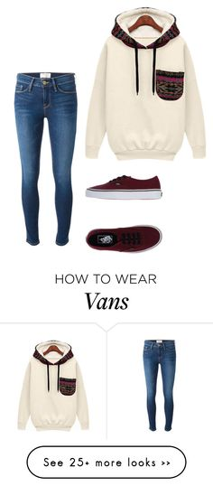 """#725"" by alienor-thomas on Polyvore featuring Frame Denim and Vans"