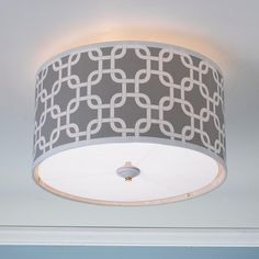 Geometric Fretwork Drum Shade Ceiling Light - 8 colors