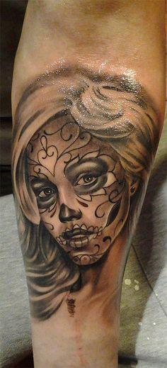 Sugar skull lady tattoo on leg