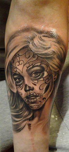 Sugar skull lady tattoo on leg