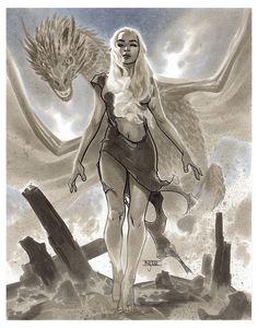 Game of Thrones - Daenerys Targaryen by Mahmud Asrar * Dessin Game Of Thrones, Game Of Thrones Artwork, Game Of Thrones Dragons, Game Of Thrones Fans, Fanart, Daenerys Targaryen Art, Khaleesi, Deanerys Targaryen, Game Of Thrones Wallpaper