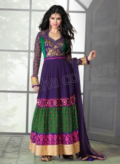 #Designer Anarkali #Purple #Indian Wear #Desi Fashion #Natasha Couture #Indian Ethnic Wear # Salwar Kameez #Indian Suit