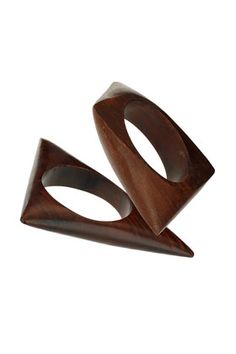 Brown abstract wooden bangles by Freedom at Topshop.