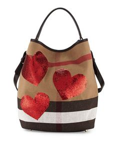 Medium Sized Ashby Heart Check Hobo Bag - Burberry @ Neiman-Marcus.