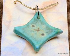 turquoise Stone Pendant Silver Necklace by HurricanePottery, $18.00
