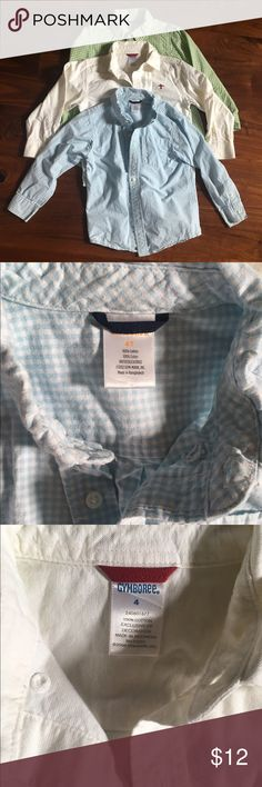 Gymboree Lot of Boys Button Downs-4T, 4, XS (3-4) Gymboree Lot of Boys Button Downs-4T, 4, XS (3-4). Gently used. Blue Gingham is Size 4T, white Oxford with red airplane chest logo is a 4, and green gingham is XS (3-4).  From a non-smoking and pet-free home. Gymboree Shirts & Tops Button Down Shirts