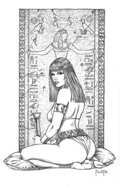 Fantasy Art, Egyptian Woman Coloring Page Colouring Pages, Adult Coloring Pages, Coloring Books, Arte Dope, Girl Sketch, Illustration, Egyptian Art, Tattoo Studio, Line Drawing