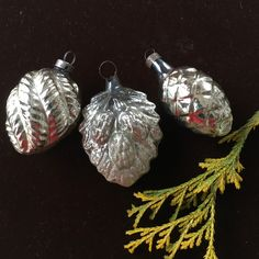 3 antique ornaments silver pinecone and leaves vintage early mid victorian feather tree christmas decor from milkweedvintagehome - Antique Silver Christmas Decorations