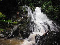 This gorgeous waterfall stopped our progress on this day. We have to find a safe way up it as it is going in our desired direction. We'll figure it out. Kayak Adventures, Phuket Thailand, Travel Tours, Figure It Out, Canoe, Trekking, Kayaking, Adventure Travel, Remote