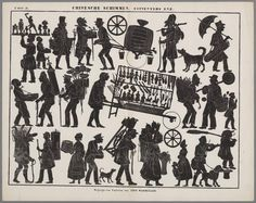 Tradesmen -  Silhouette figures for use with Toy Theaters - c 1850-1880