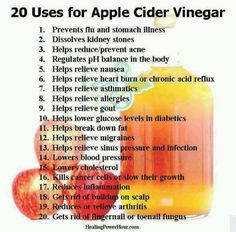 20 Uses for Apple Cider Vinegar. My husband is English.this is his favorite health ingredient! Vinegar has been used for centuries for various cooking and household purposes. And the most popular of all the vinegar types is apple cider vinegar. Braggs Apple Cider, Apple Cider Vinegar Remedies, Apple Cider Vinegar For Skin, Apple Cider Vinegar Benefits, Apple Benefits, How To Relieve Nausea, Canned Apples, Health Remedies, Health And Fitness