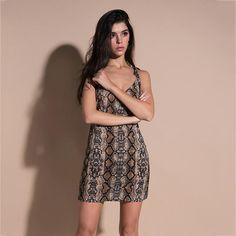 Snake Print Shoulder Tie-up Straps Casual Dress – Lupsona