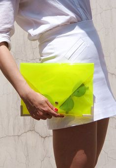 Clear Envelope Clutch  Yellow  Jel Candy by EastWorkshop on Etsy, $7.98  lovelovelove