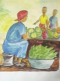Vegetable Street Market - Oil Painting on canvas