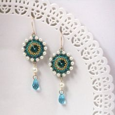 Turquoise & pearl errings Turquoise dangle by LioraBJewelry