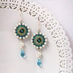 Turquoise & pearl errings, Turquoise dangle earrings, Swarovski drop earrings, Long turquoise earrings, Turquoise gold earrings