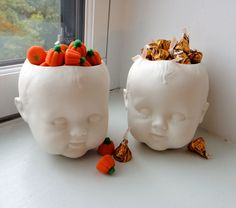 Porcelain Baby Doll Head Candy Dish/Planter and Saucer eclectic holiday decorations Halloween Doll, Halloween 2015, Holidays Halloween, Spooky Halloween, Halloween Treats, Happy Halloween, Halloween Party, Halloween Decorations, Halloween Costumes