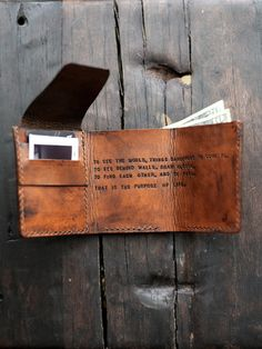 Mens Custom Leather Wallet Walter Mitty Wallet