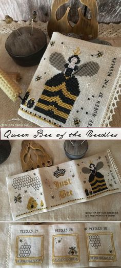 Bee Queen of the Needles cross stitch pattern by The Primitive Hare at cottageneedle.com Honey bee spring garden skip by thecottageneedle