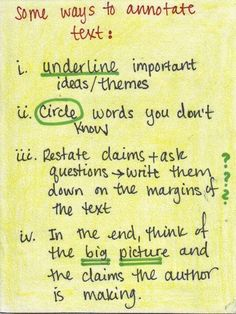 Good note taking can lead to great studying later on. Learn how to annotate text with this helpful note.