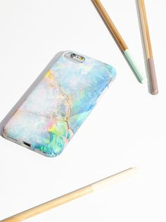 Galaxy Marble iPhone Case | Flexible iPhone 6 and 6s case designed in NYC. Features a cool galaxy-inspired marble pattern and screen protector.