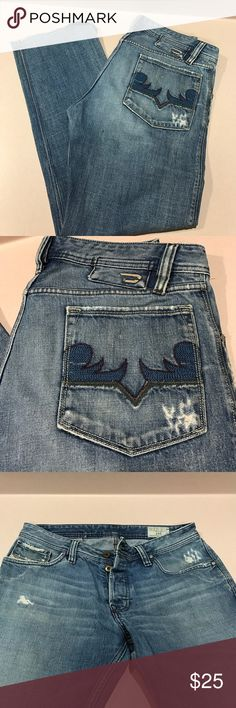 Diesel Zaf Men's Jeans 👖 Well loved, distressed Diesel Brand  Zaf Jeans. Cuffs can be re-hemmed. Still fit well! Well taken care of in a clean and smoke free home! Diesel Jeans Straight