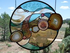 "Stained Glass Window, "" MAJESTIC "" Original ,Brazilian Agates, Contempoary Southwest, Sandcarvings, Rondel,Stained Glass Panel by ZuniMountainArtGlass on Etsy"