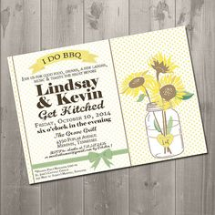 Sunflower Mason Jar I Do BBQ DIY Printable Rehearsal Dinner Invitation $15.00