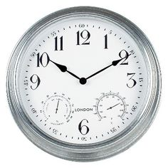 Poolmaster 16 London Wall Clock, Silver