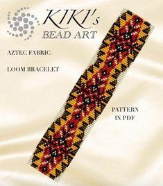 Bead loom pattern, Aztec fabric, ethnic styled LOOM bracelet cuff pattern in PDF - instant download