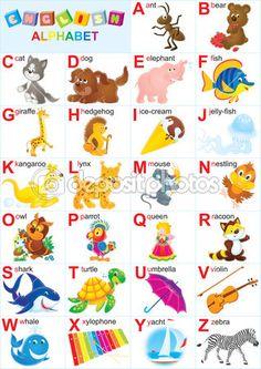 Alfabeto Inglês para crianças com brinquedos e animais engraçados — Fotografias de Stock © AlexBannykh #31116525