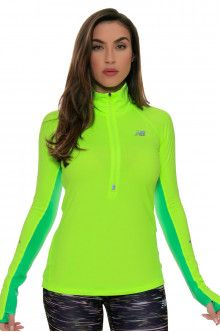 62f951f4824ac Fitness Outfit l New Balance Lime Glo Half Zip Top : WT71213 Workout Tops,  Workout