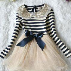 Girls Tutu Blue Dress Stripe Navy Blue Ivory with Golden Peter Pan Collar | Rudelyn's Sari Sari Store