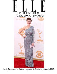 Elle Emily Deschanel wearing custom Houghton.  Red Carpet Best Dressed 2013 EMMYs
