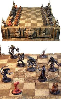 Awesome Alien vs Predator chess set