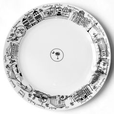 Charleston Skyline Large Round Platter-Celebrate Charleston in your home with this illustrated cityscape large round platter, featuring drawings of the Market, the Ravenel Bridge, Rainbow Row, and other classic Charleston landmarks.