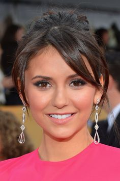 Nina Dobrev   19th Screen Actors Guild Awards - makeup + new hairdo • Dress: Elie Saab • Jewels: Neil Lane • January 27, 2013
