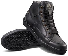 """ROLAND SANDS """"Fresno Riding Shoe"""" in black: waterproof motorcycle sneakers with ankle protection and gear shift shoe protection. Great motorcycle sneaker in skater hi-top look! Black Shoes, All Black Sneakers, Motorcycle Shoes, Bike, Roland Sands, Black Gums, School Shoes, Casual Boots, Cowhide Leather"""