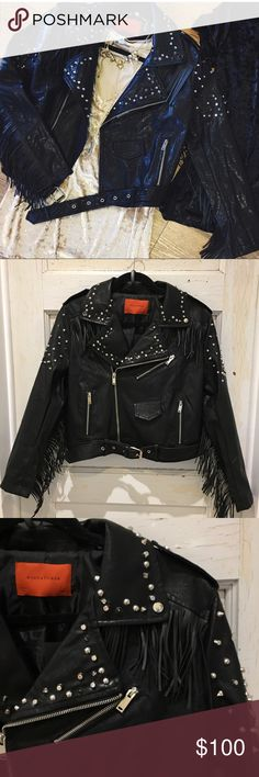 """NWT black faux leather studded/fringe jacket NWT black faux leather fringe/ studded jacketfully lined & very cute zipped or unzipped, detachable belt.  S- 18"""" from under pit to pit & 18"""" bottom band when zipped, laying flat! M- 19"""" from under pit to pit & 19"""" bottom band when zipped & laying flat! Both 20"""" from back of neck to bottom of band Jackets & Coats"""