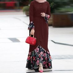 Women Floral Patchwork Dress Appliques Ladies Vintage Long Sleeve Maxi Dresses P. Women Floral Patchwork Dress Appliques Ladies Vintage Long Sleeve Maxi Dresses Plus Size Casual Fas Muslim Fashion, Modest Fashion, Hijab Fashion, Fashion Dresses, Fashion Fashion, Fashion Online, Womens Fashion, Plus Size Maxi Dresses, Modest Dresses