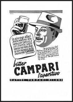 PUBBLICITA' 1951 BITTER CAMPARI APERITIVO MILANO DRINK BAR FUMETTO CRESPI 1951